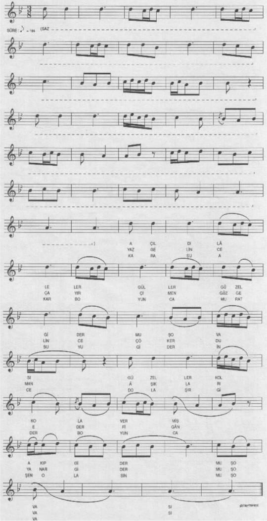 Açıldı Laleler Güller (Muş Ovası) Türküsünün Notası