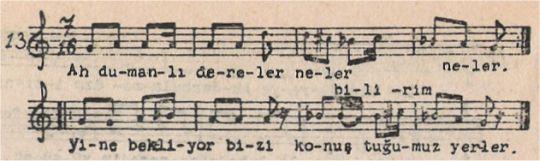 Ah Dumanlı Dereler Türküsünün Notası