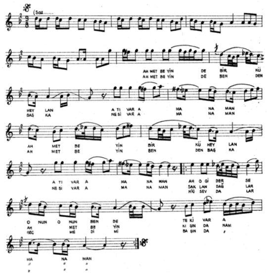 Ahmet Bey'in Küheylan Atı Var Türküsünün (1.Varyant) Notası