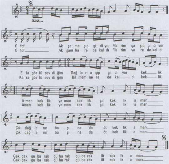 Akşam Aşıp Gidiyor (Keklik) Türküsünün Notası