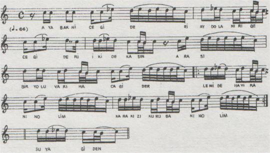 Aya Bak Nice Gider Türküsünün (2.Varyant) Notası
