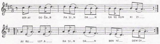 Bir Ay Doğar Pasen'den Türküsünün (2.Varyant) Notası