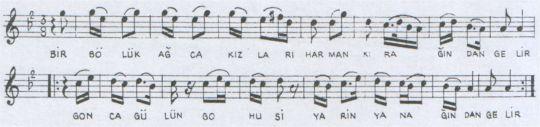 Bir Bölük Ağca Kızlar Türküsünün Notası