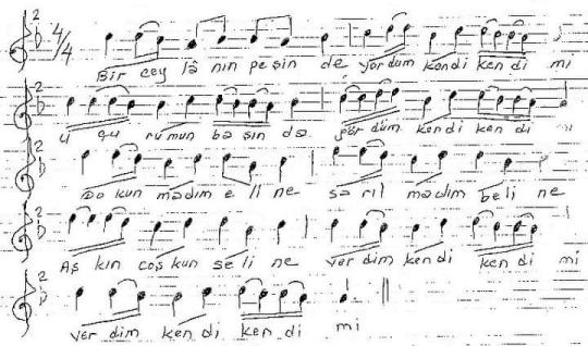 Bir Ceylanın Peşinde Türküsünün Notası