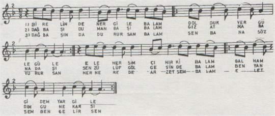 Bir Elinde Nergile Balam Türküsünün Notası