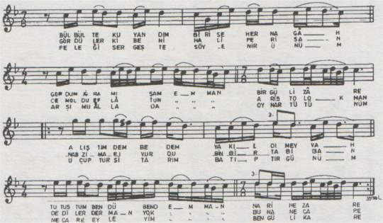 Bülbül Tek Uyandım Bir Seher Türküsünün (1.Varyant) Notası