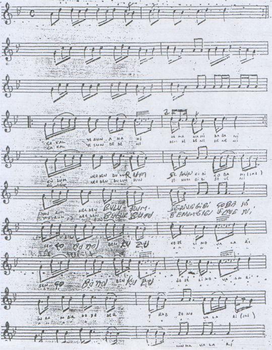 Çakal Yesun Anani Türküsünün Notası