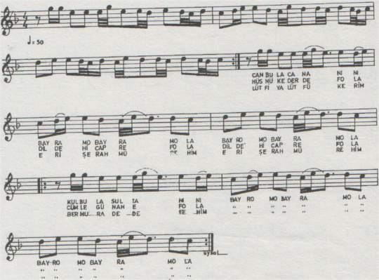 Can Bula Cananını Türküsünün Notası
