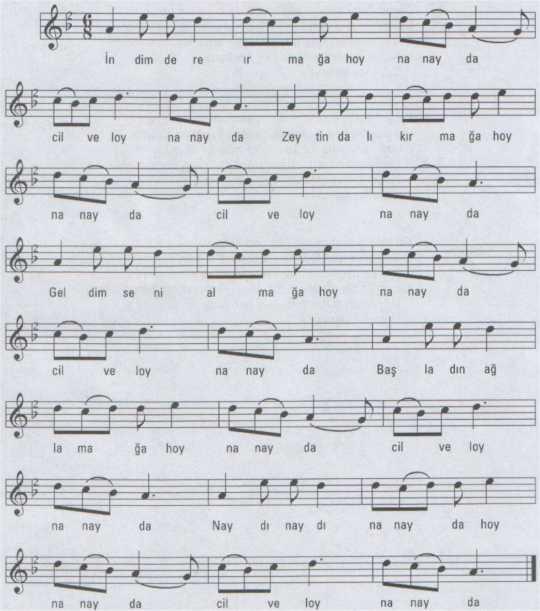 Cilve Loy (İndim Dere Irmağa) Türküsünün Notası