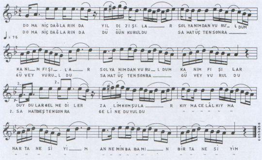 Domaniç Dağlarında Türküsünün Notası