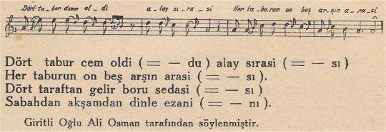Dört Tabur Cem Oldi Alay Sırasi Türküsünün Notası