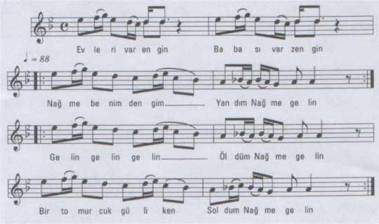 Evleri Var Engin (Name Gelin) Türküsünün Notası
