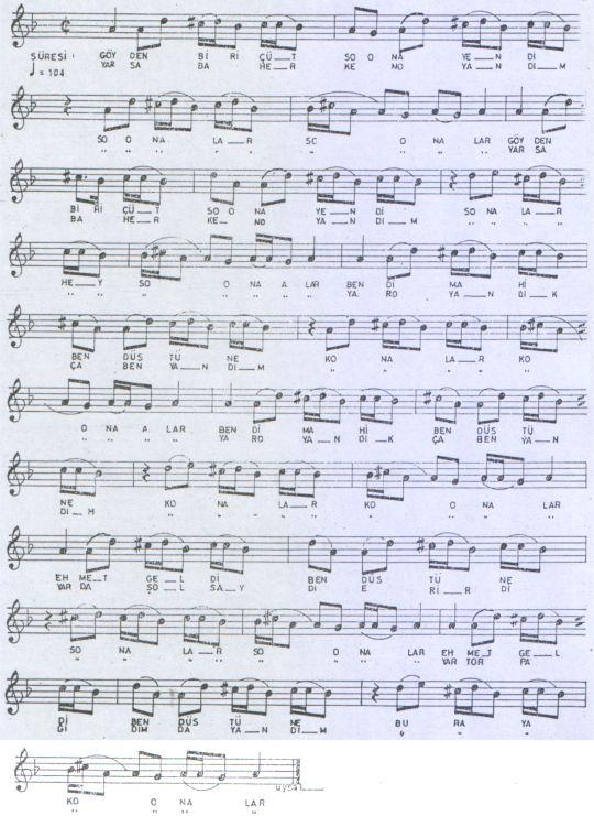 Göyden Bir Çüt Suna Yendi Türküsünün Notası