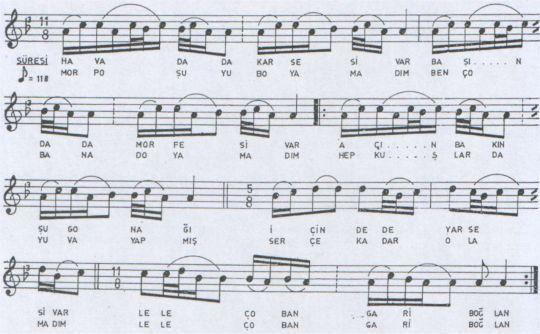 Havada Kar Sesi Var Türküsünün Notası