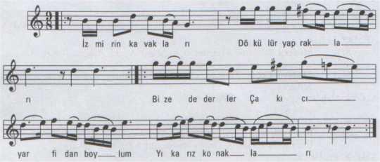 İzmir'in Kavakları Türküsünün (1.Varyant) Notası