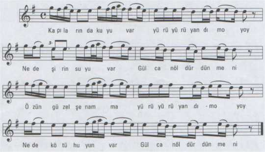 Kapılarında Kuyu Var (Gülcan) Türküsünün Notası