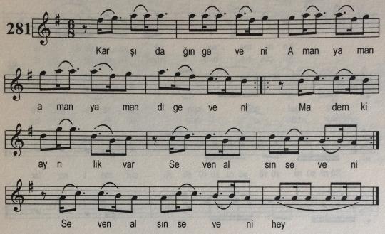 Karşı Dağın Geveni Türküsünün Notası