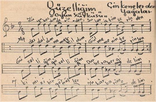 Kuyu Kazdım Derinden Türküsünün Notası