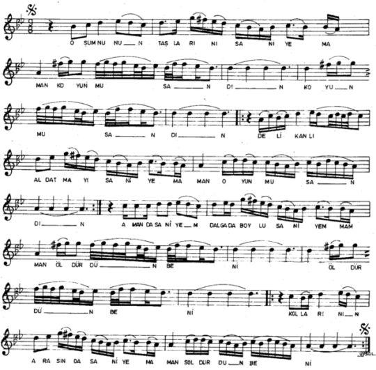 O Şumnu'nun Taşlarını (Saniye'm) Türküsünün Notası