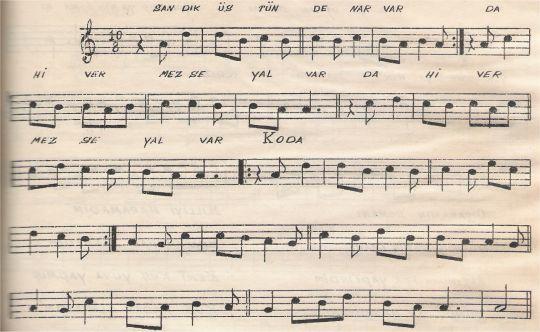 Sandık Üstünde Nar Var Türküsünün Notası
