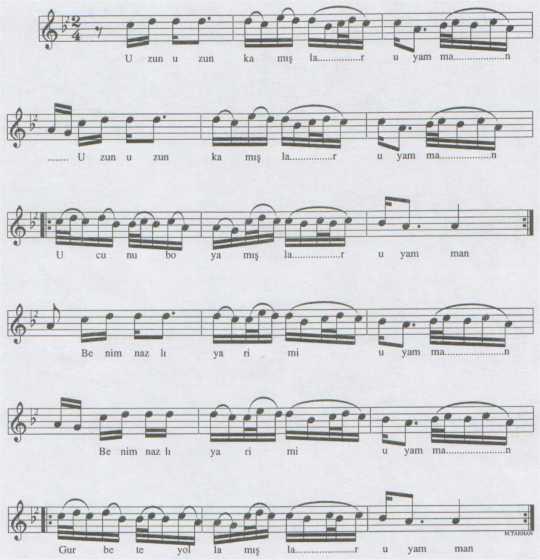 Uzun Uzun Kamışlar Türküsünün Notası