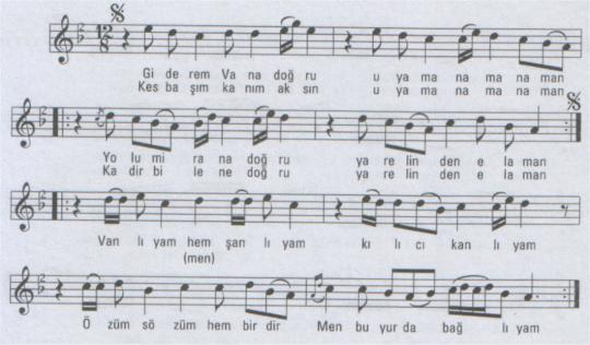Vanlıyam Şanlıyam Türküsünün Notası