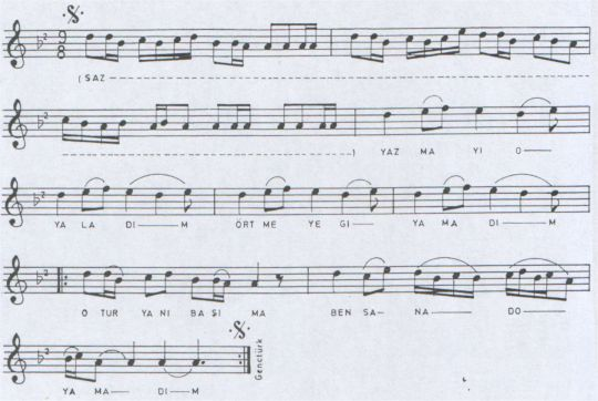 Yazmayı Oyaladım Türküsünün Notası