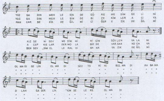 Yozgadın Mehlesinde Türküsünün Notası