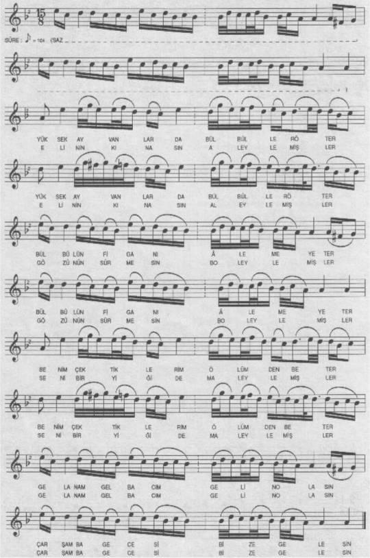Yüksek Ayvanlarda Bülbüller Öter Türküsünün Notası