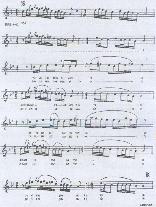 Yüzüğümün Elmas Taşı Türküsünün Notası